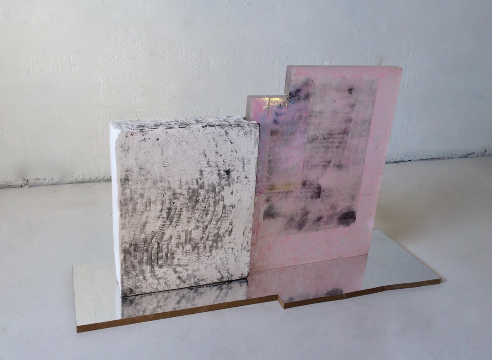 soft, 2016 . plaster, acrylic, MDF, mirror film, holographic film, wax crayon, varnish, spray paint, acrylic. 4L x 1W x 2H'