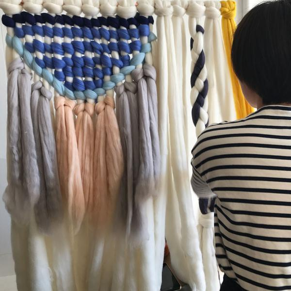 Woven wall hanging workshop at Poketo.