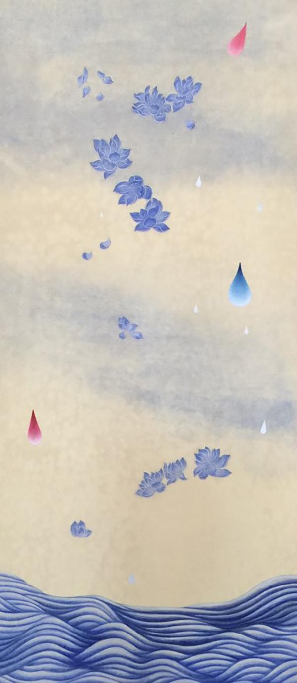 꽃비2 (Rain Drop 2)  Ground pigment,ink, Hanji paper on wooden panel 40 1/2 x 18 x 7/8 inches 2016   Inquire