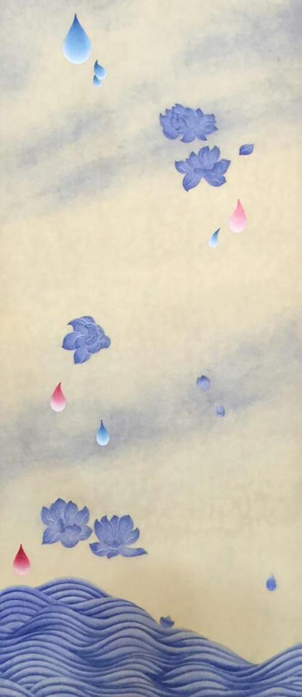꽃비3 (Rain Drop 3)  Ground pigment,ink, Hanji paper on wooden panel 40 1/2 x 18 x 7/8 inches 2016   Inquire