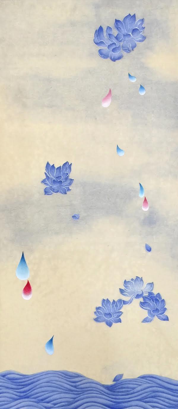 꽃비4 (Rain Drop 4)  Ground pigment,ink, Hanji paper on wooden panel 40 1/2 x 18 x 7/8 inches 2016   Inquire