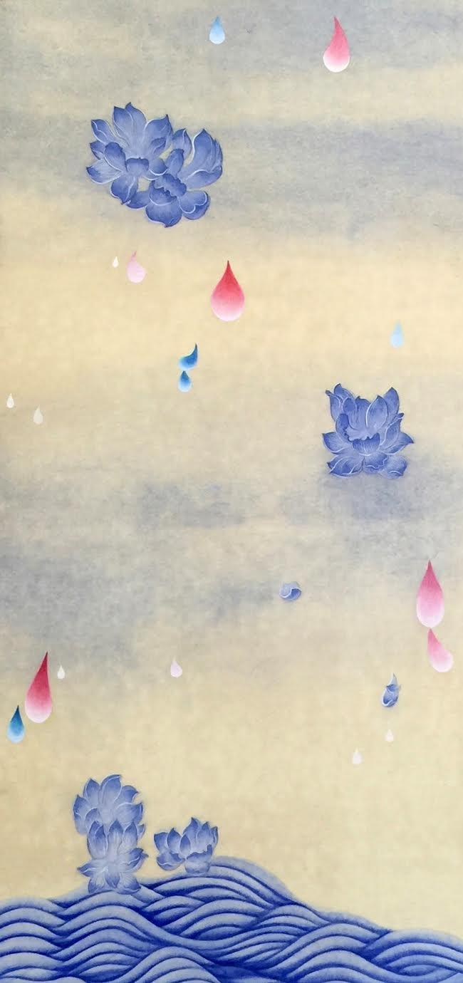 꽃비1 (Rain Drop 1)  Ground pigment,ink, Hanji paper on wooden panel 40 1/2 x 18 x 7/8 inches 2016  sold   Inquire