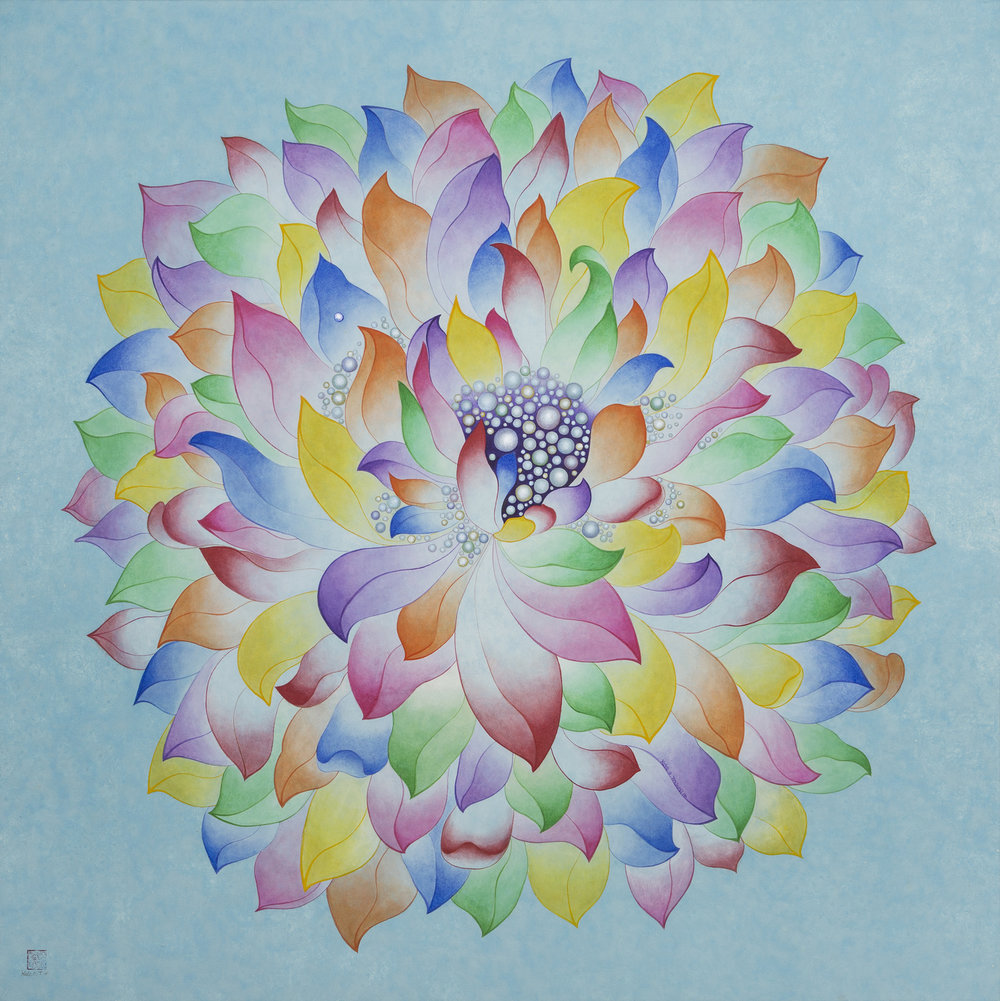 Blue Lotus 하늘 연꽃    Ink, Acrylic on Hanji Paper over wooden Panel  36x 36X2.5 inches 91.5x91.5x6.3cm, 2014