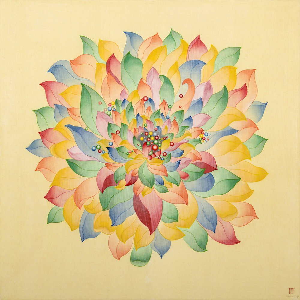 Multicolored Lotus    다양색 연꽃     Ink, Acrylic on Silk over wooden Panel      36x 36 X2.5 Inches91.5x91.5x6.3cm, 2014   Sold