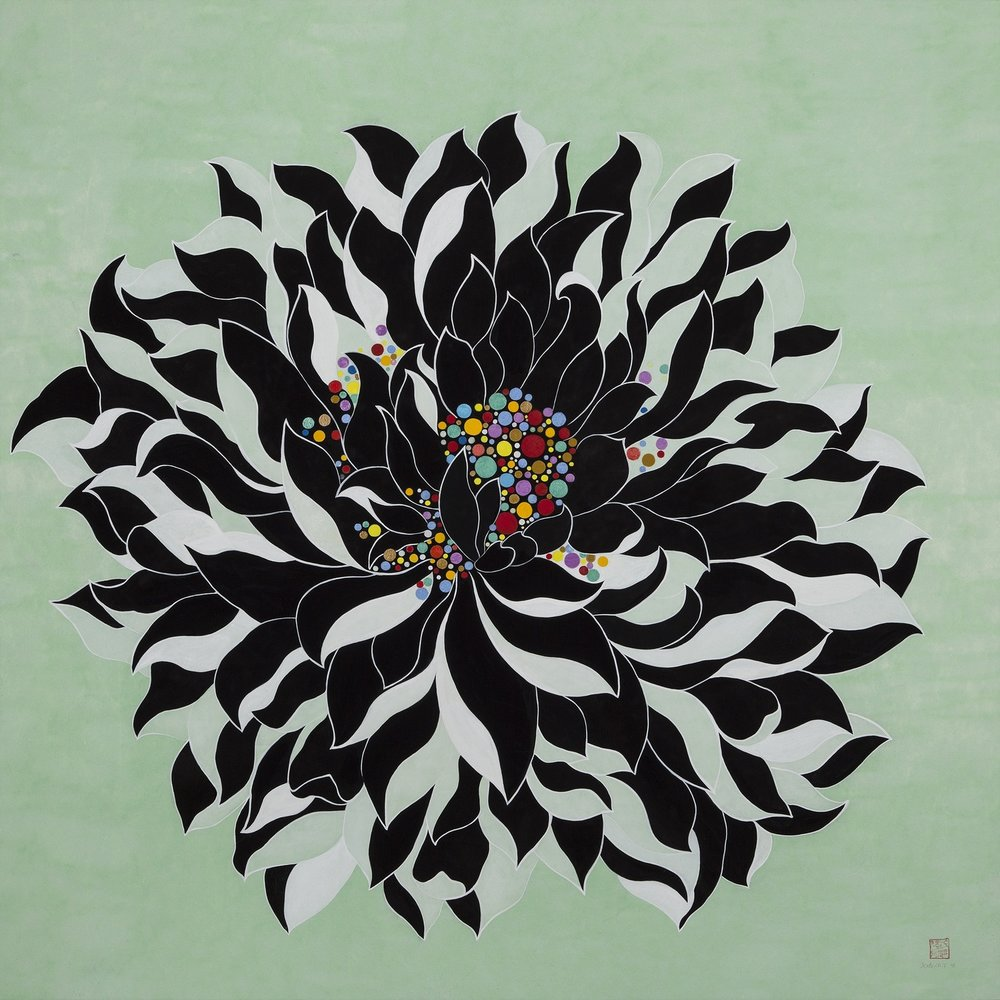 Black and White Lotus   Acrylic on Hanji Paper over woodenPanel   36x 36 X2.5 Inches (91.5x91.5x6.3cm), 2014