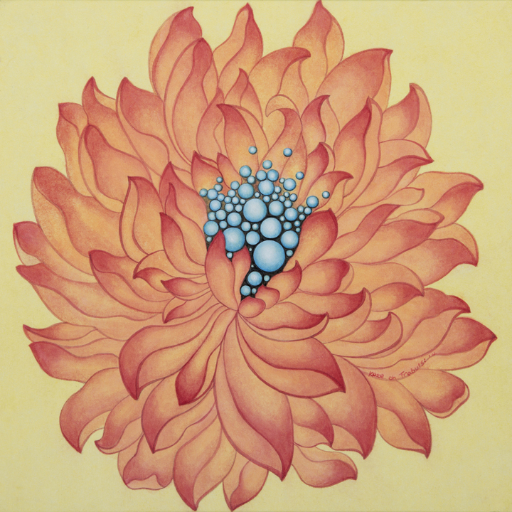 Orange Lotus 오랜지 연꽃    Ink on Hanji Paper over wooden panel  12x12x1 Inches  30.5x30.5x2.5cm, 2014   Sold   Donated for Korean Painting Workshop   PS 183   NY,    뉴욕 공립 초등학교 한국화 수업 발전기부금   판매 전액 기부  2014