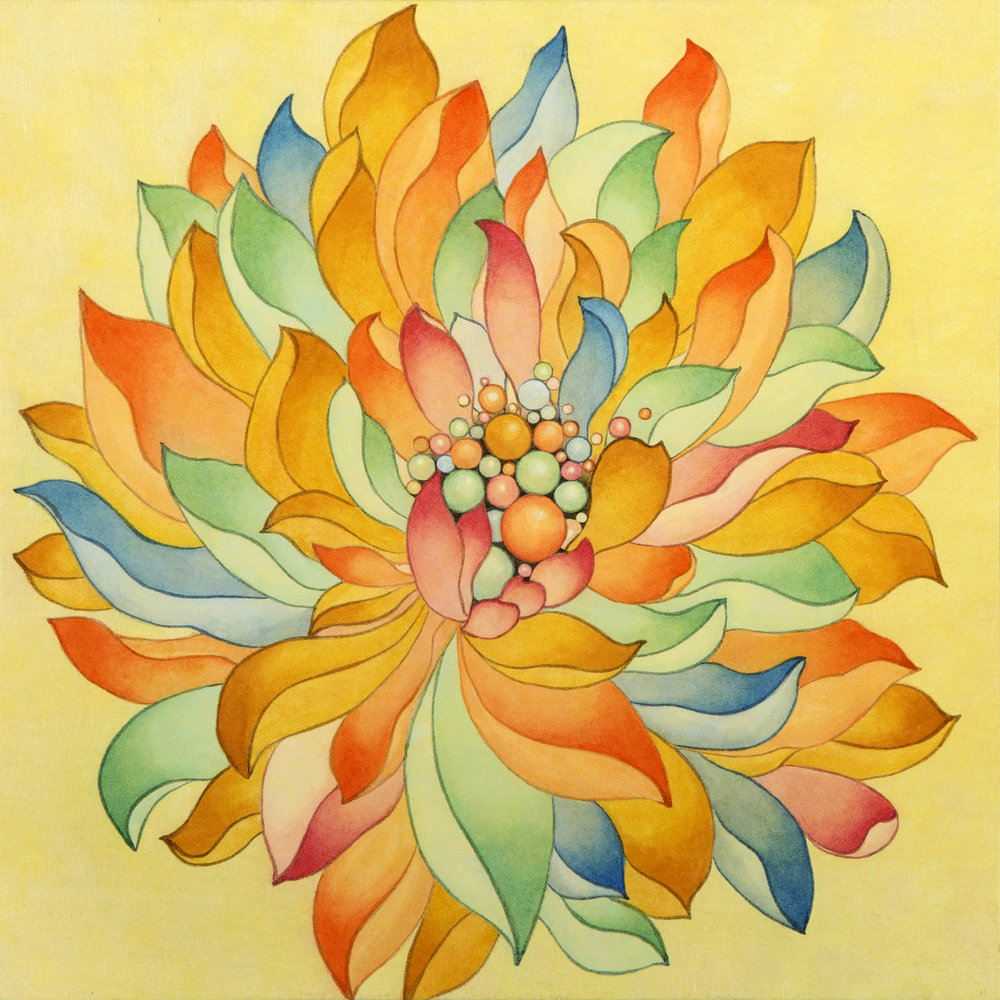 Multicolored Lotus II 다양색 연꽃 II   Ink on Hanji Paper over wooden panel  12x12x1 Inches30.5x30.5x2.5cm, 2014