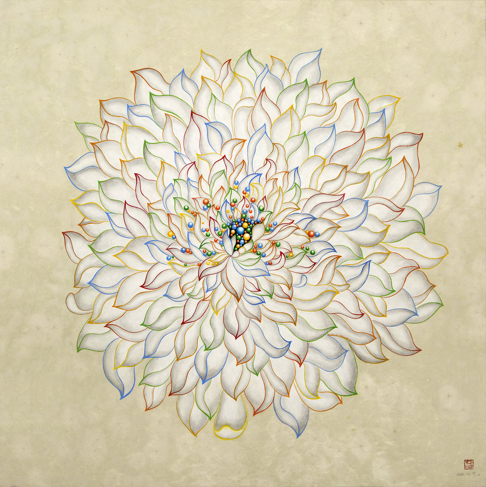 White Lotus 흰 연꽃     Acrylic on Hanji Paper over woodenPanel  36x 36 X2.5 inches  91.5x91.5x6.3cm, 2014   Sold