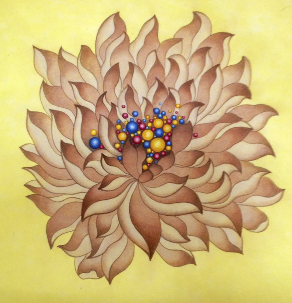 Brown Lotus   Acylic on Hanji Paper over wooden panel 12x12x1 Inches  30.5x30.5x2.5cm, 2014   Sold