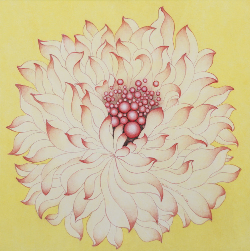 White Lotus II    Ink on Hanji Paper over wooden panel  12x12x1 Inches  30.5x30.5x2.5 cm, 2014    Sold