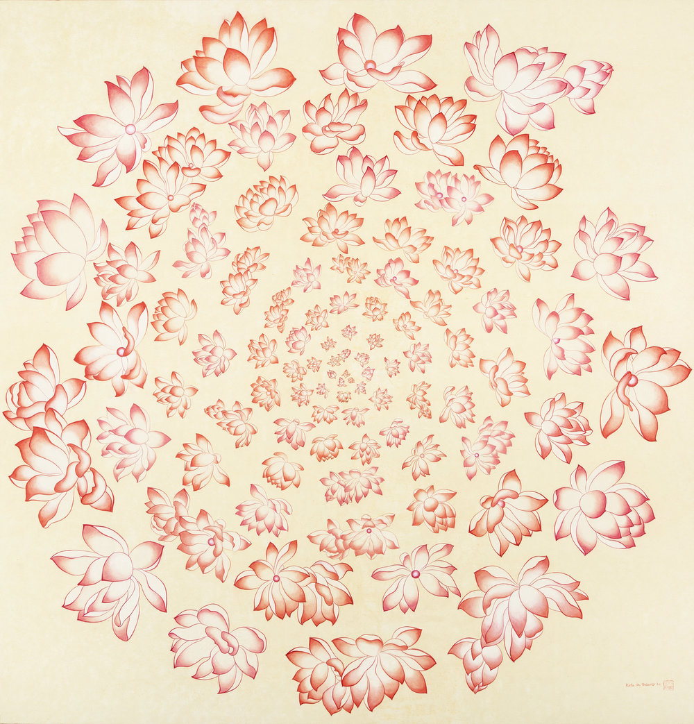 108 Lotus Flowers I   Ink on Hanji Paper, over Wooden Panel  48x 50 x 2,5 Inches 122x127x6.3cm, 2014