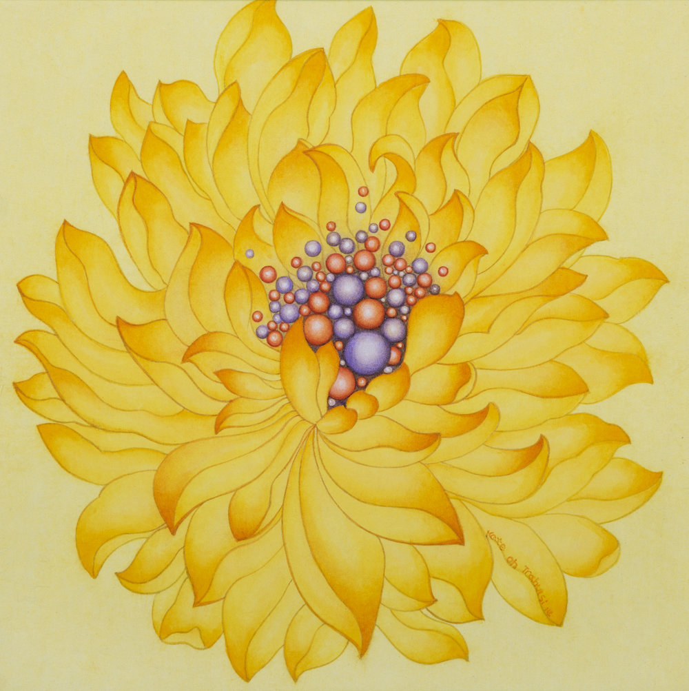 Yellow Lotus     Ink on Hanji Paper over wooden panel  12x12x1 Inches  30.5x30.5x2.5 cm, 2014   Sold