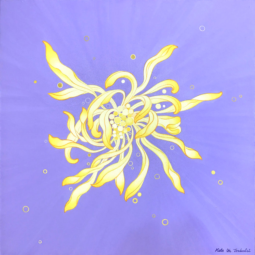 Chrysanthemum Series (Purple)  Acrylic on Hanji Paper over wooden panel  24 x 24 inches 2017   Inquire