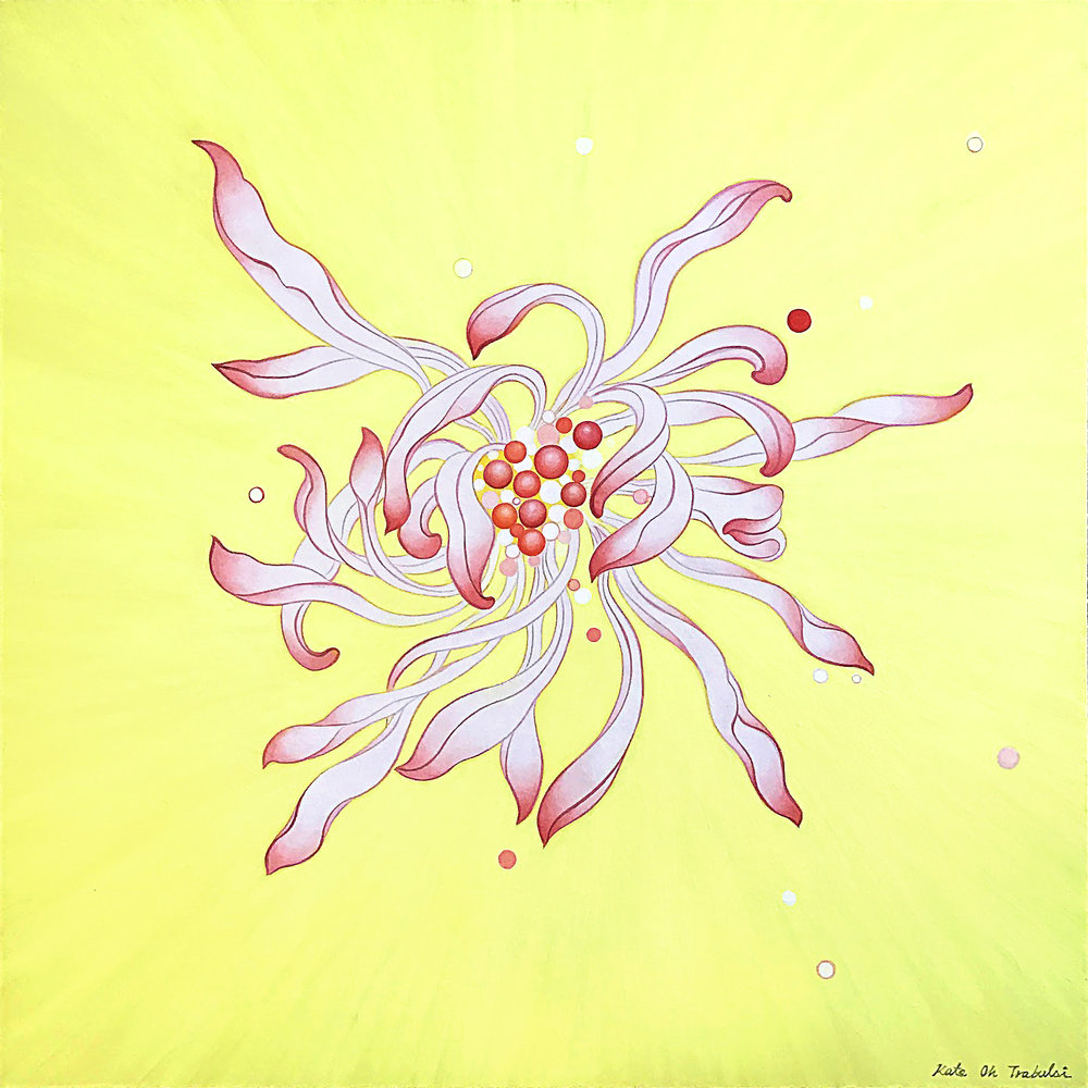 Chrysanthemum Series (Yellow)  Acrylic on Hanji Paper over wooden panel  24 x 24 inches 2017  sold   Inquire