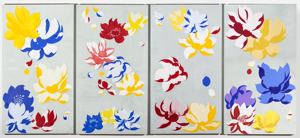 """In Air (Lotus)   Acrylic on Silk  over Wooden Panel 30x54x2.5""""In Each   76x137x6.5cm, 2014"""
