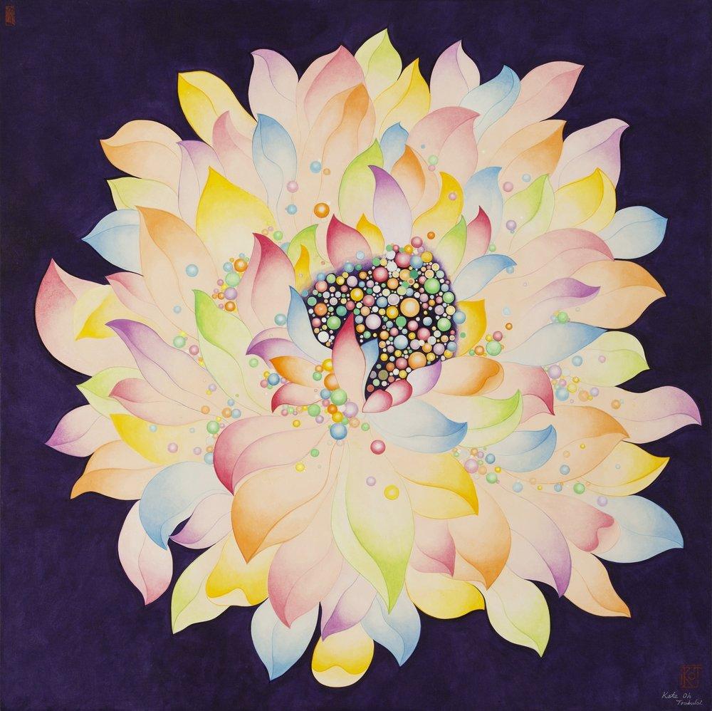 Purple Lotus보라연꽃   Acrylic on Hanji Paper over wood panel 30x 30x 1.5'' In 76x76x4Cm, 2015   Sold