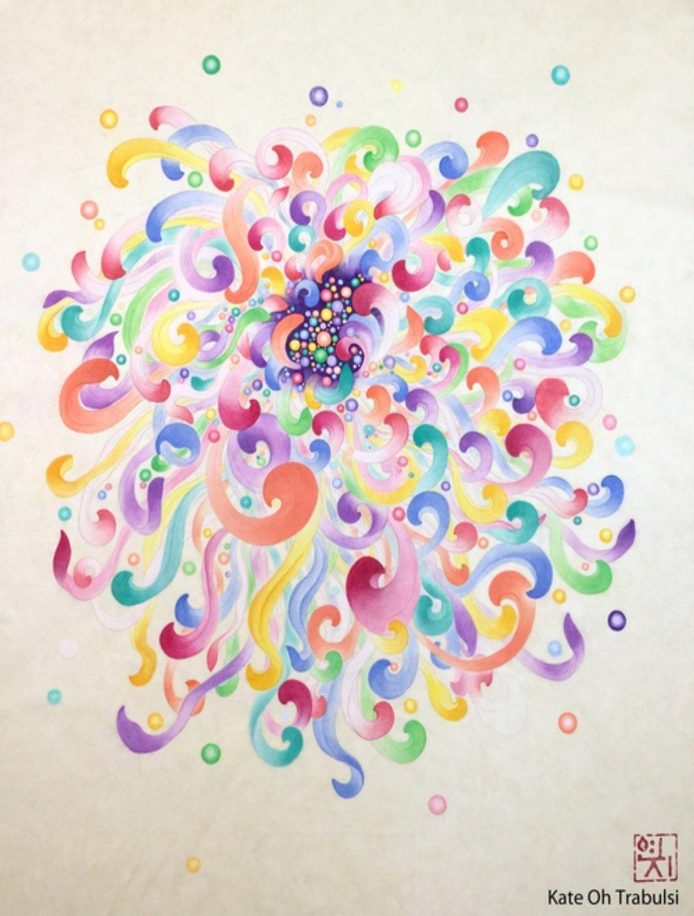 "Joy 1 - White Chrysanthemum   Ink on Hanji Paper  30X40x1.5""In 76.x115x4Cm  Sold"