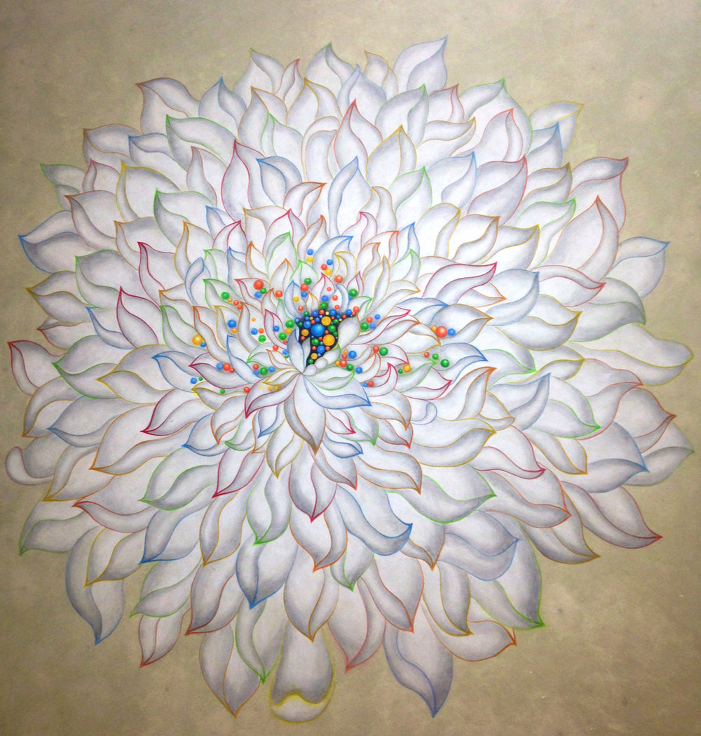 Spirit, Unity and Enduring-Hope (White Lotus)  Acrylic on Hanji Paper over wood panel  36x36 in 2014  Sold