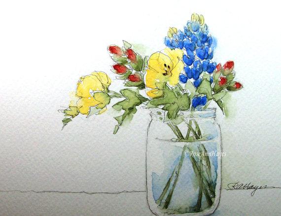 """Bluebonnets Indian Paintbrush Primrose""  by RoseAnn Hayes"