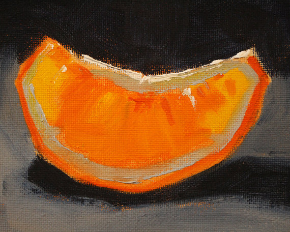 """Orange Slice"" still life by Nancy Merkle"