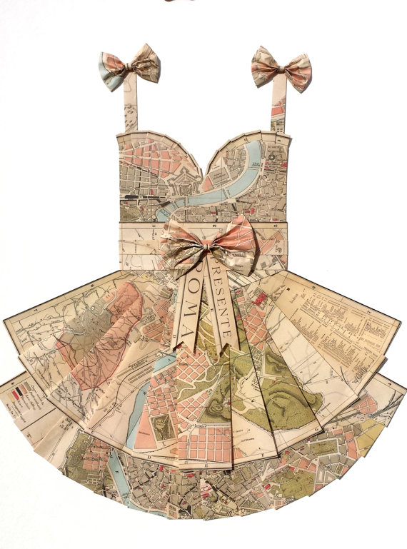 Hand folded dress made of maps of Rome, The Paper Promenade