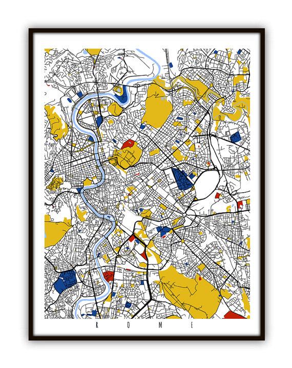 Modern City Map of Rome, Mondrian Map Art