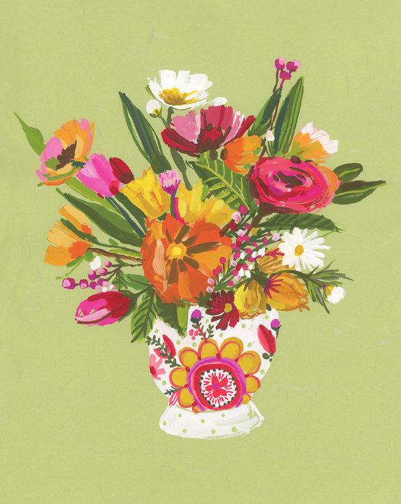 "Carolyn's ""Floral Still Life on Green Wall"""