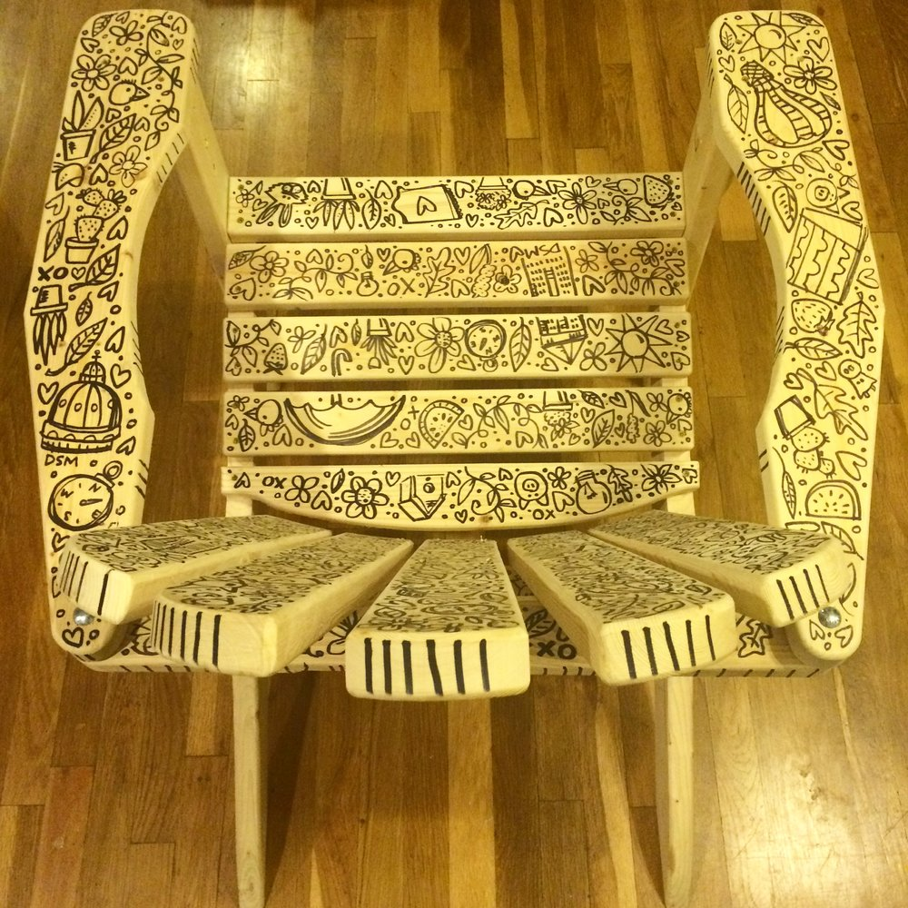 Hand Illustrated Wooden Chair, Young Women's Resource Center: Des Moines, IA