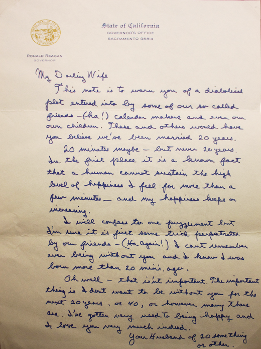 A love letter from Governor Reagan to his wife, Nancy.