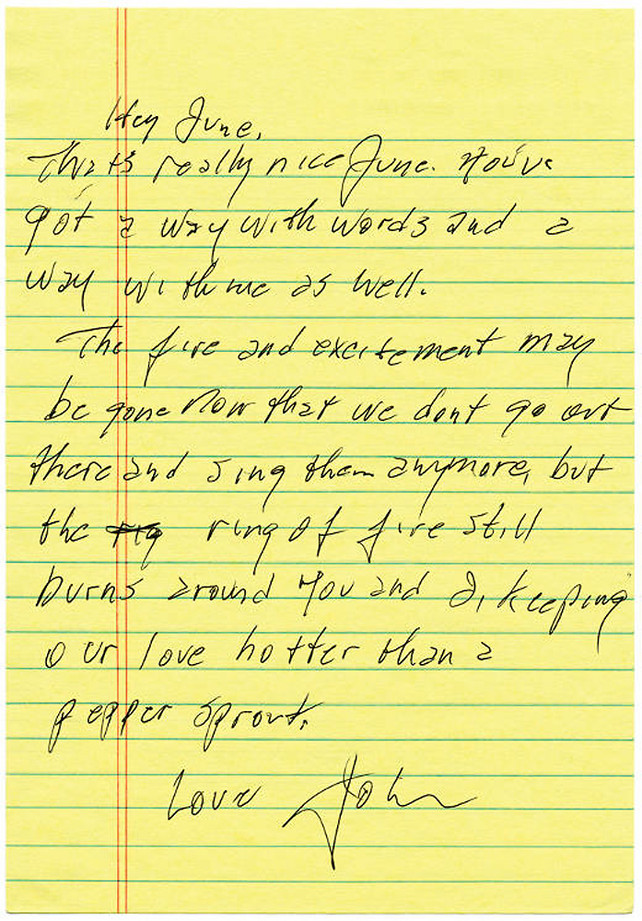 Love letter from Johnny Cash to June.