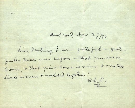 Love letter from Mark Twain to his wife, Livy.
