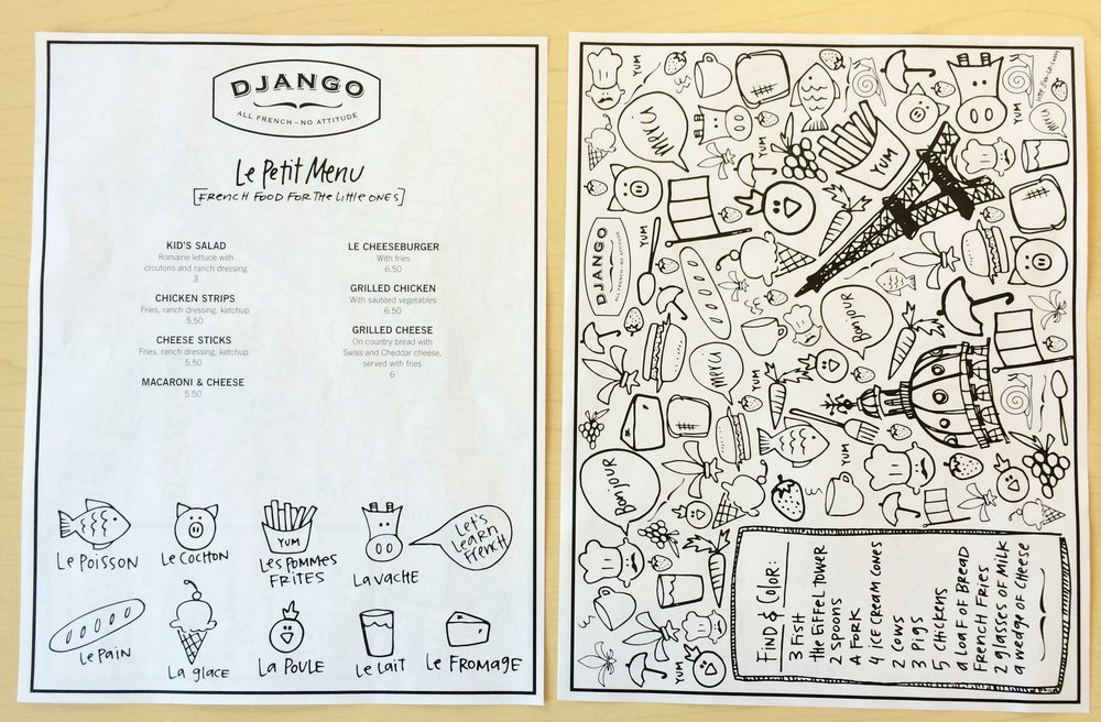 Django kids menu!. [PS- have a restaurant? I want to do your kids' menu]