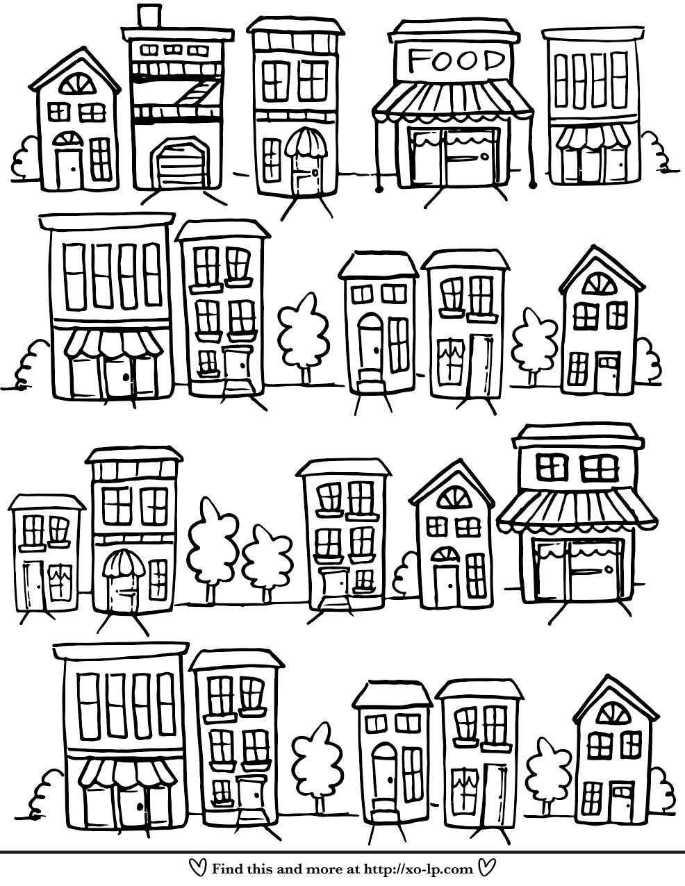 Neighborhood Printable Coloring Page Xo Lp