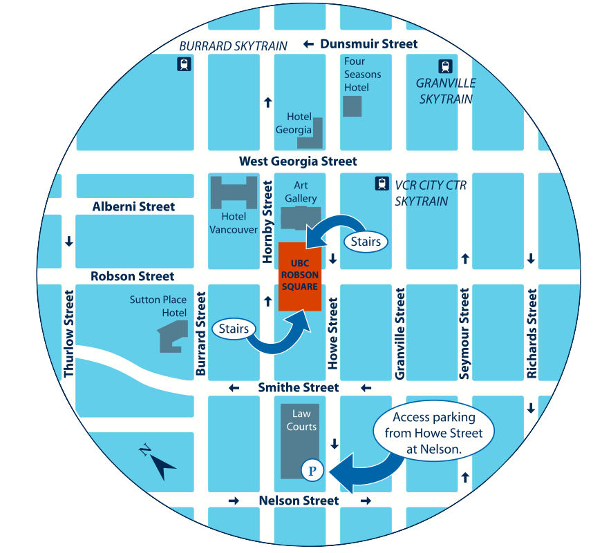 Click on Image to download PDF Map for UBC Robson Square.