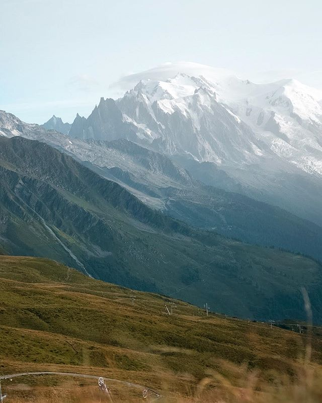 "Difficult to capture the ""formidability"" of Mont Blanc in a photo, here's my attempt, which I love but which isn't even remotely close 😆 go, go, go see it. With @aubrey.garner on the tour du Mont Blanc - as seen from Refuge du Balme #utmb #tmb #chamonix #neverstopexploring #stayandwander #roamtheplanet"