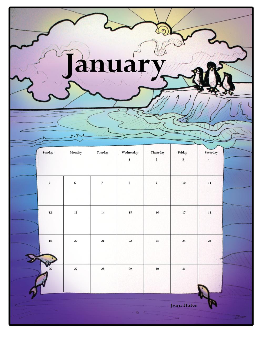 January Calendar - Jan 2, 2014