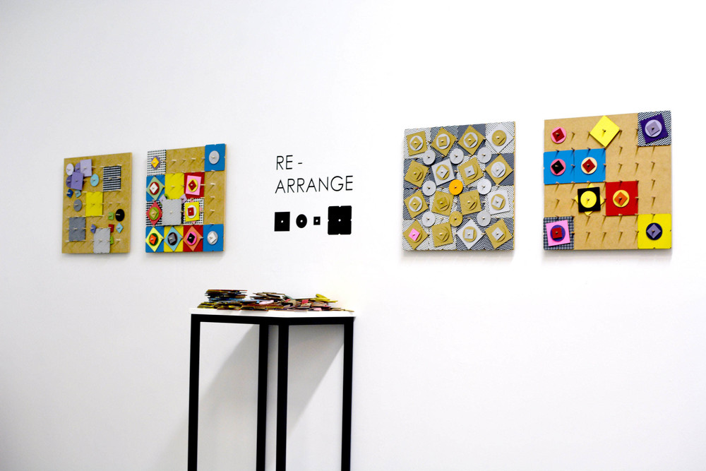 Images above and below:  Re-arrange  (stills from installation), 2014, acrylic on MDF, dimensions variable.