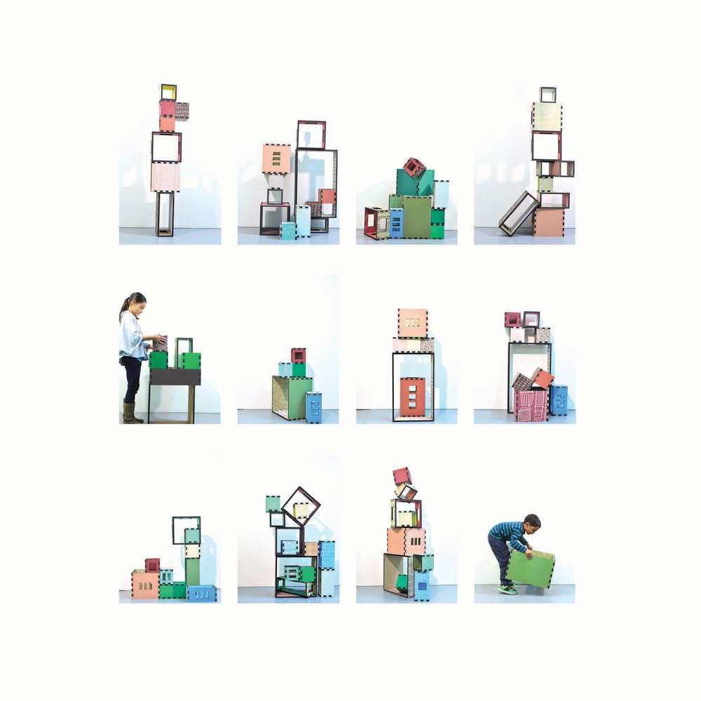 Block stack studies  (stills of variation), 2013, Permaset on MDF, dimensions variable