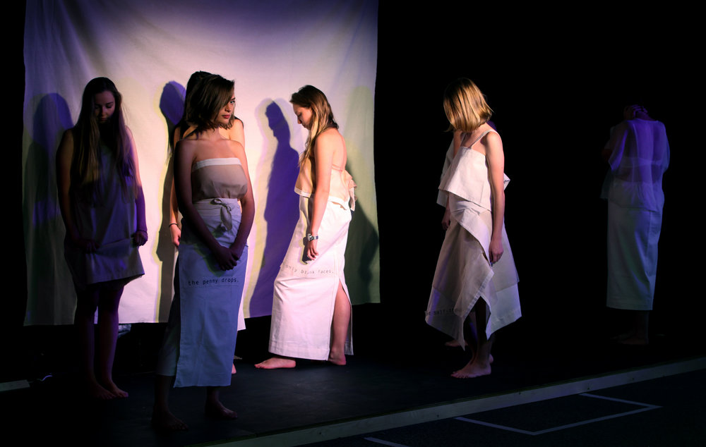 A still from In the loop performance - pairing fashion and poetry - by Claire Capel-Stanley. Image: Erica Hurrell