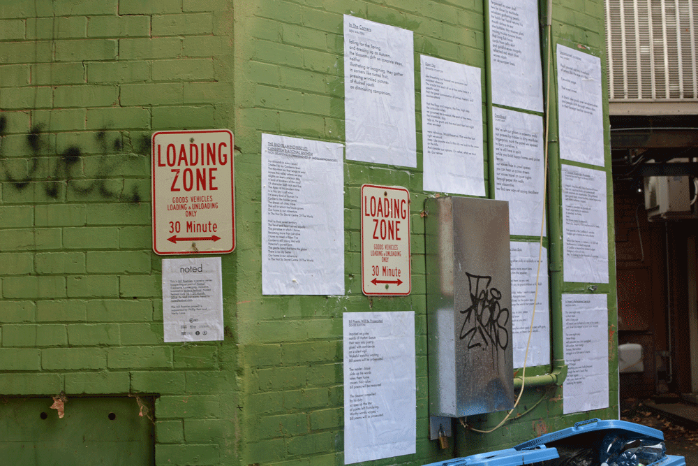Image of Bill Poetries installation in Verity Lane in Canberra. This was taken in 2016. Maybe they're still there? Bill Poetries was curated by Andrew Galan. Image by me.