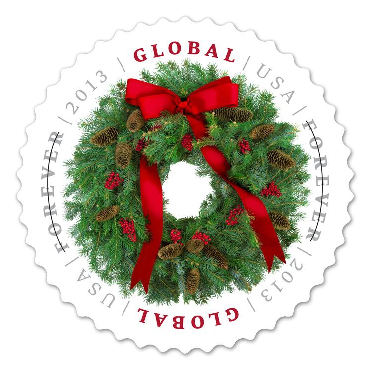 USPS 2013 Global Christmas wreath stamp