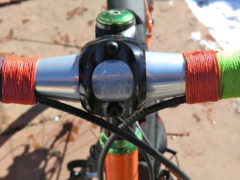 NITTO randonneur handlebars wrapped with Newbaum's cloth tape.