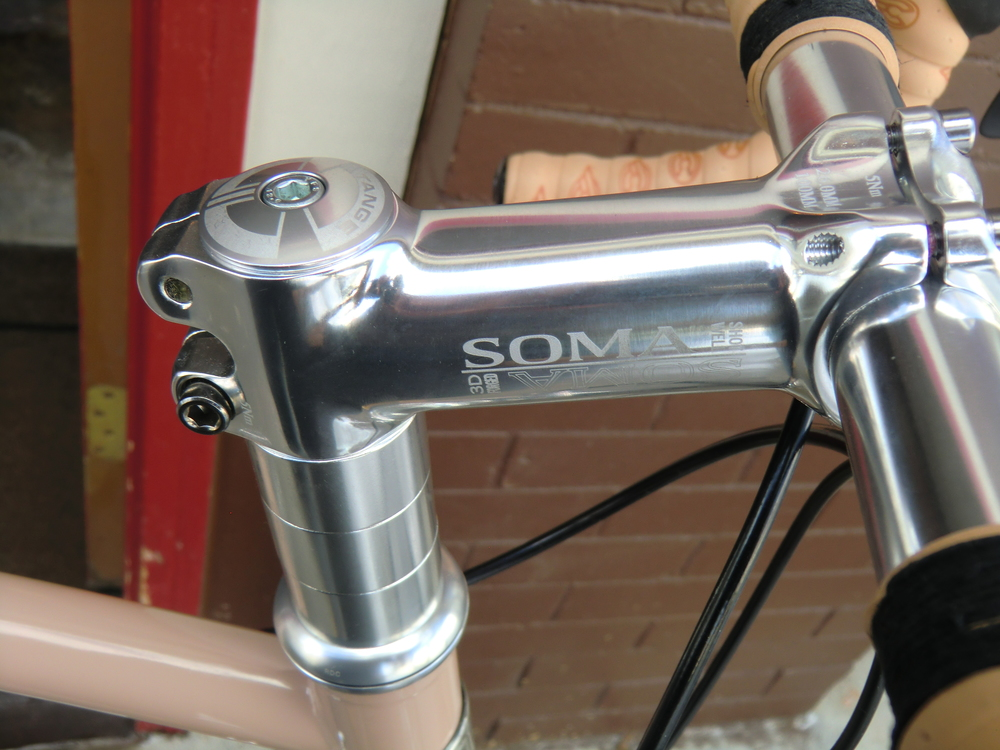 Soma stem and fork with Tange headset are stock items. Cinelli Gel Cork tape a custom touch.