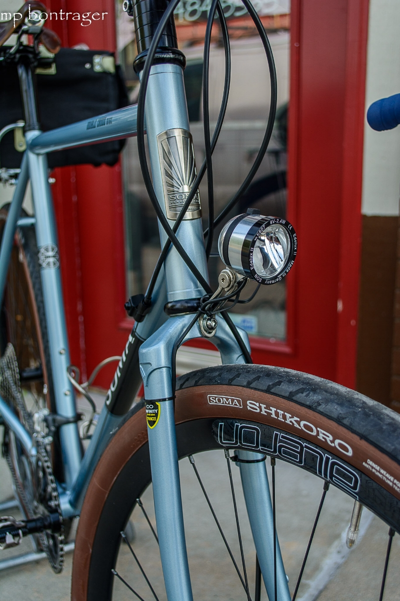 This Cycle Cross bike sports a Chromoly steel fork, Schmidt's SON Edelux headlight