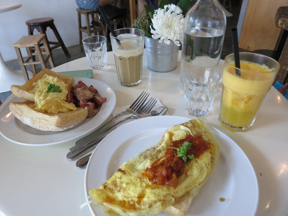 Strangers' Reunion, omelette, bacon and egg on toasts.
