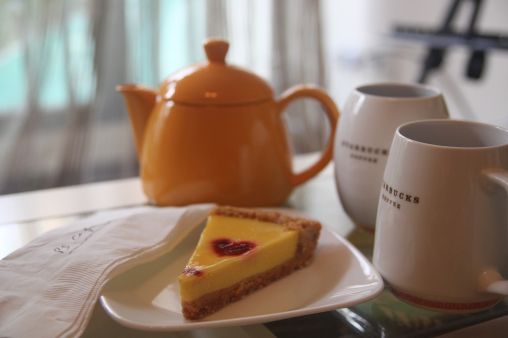Afternoon tea, sweet and sour lemon tart
