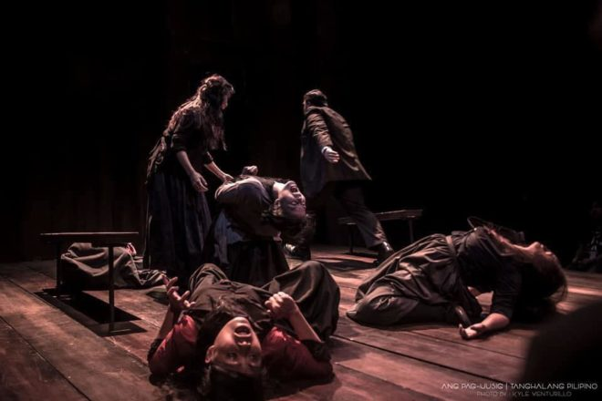Ang Pag-uusig  is Tanghalang Pilipino's Filipino translation of Arthur Miller's  The Crucible . (PHOTO BY KYLE VENTURILLO from Inquirer.net)