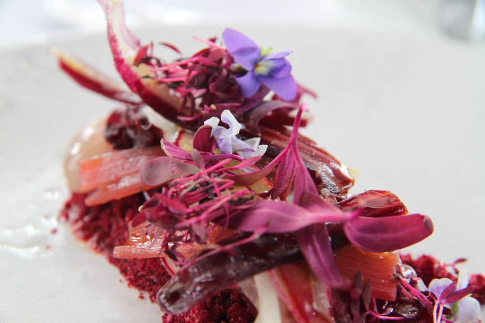 A Salad of Pickled Rhubarb and Violet Flowers by Peter Gilmore