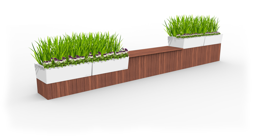 semi concealed planter, timber planter, self watering timber planter