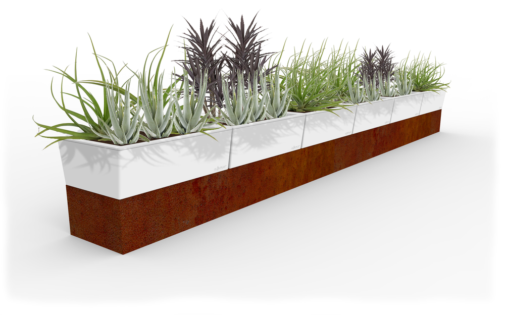 corten steel planter, steel planter, steel self watering planter